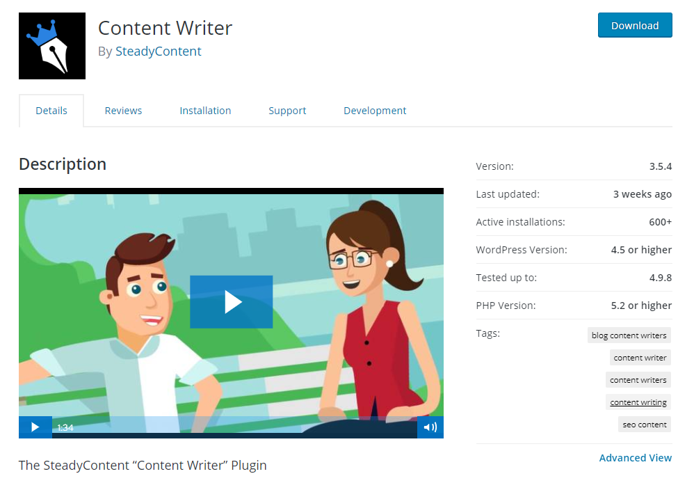 Content Writer, SteadyContent.com wordpress plugin on wordpress.com